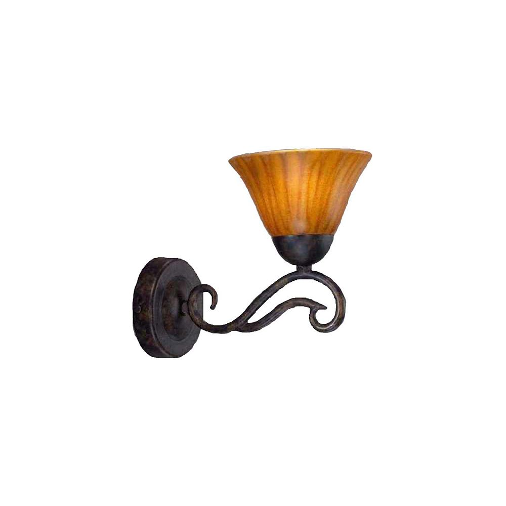 Filament Design Concord 1 Light Wall Bronze Incandescent Wall Sconce with a Tiger Glass