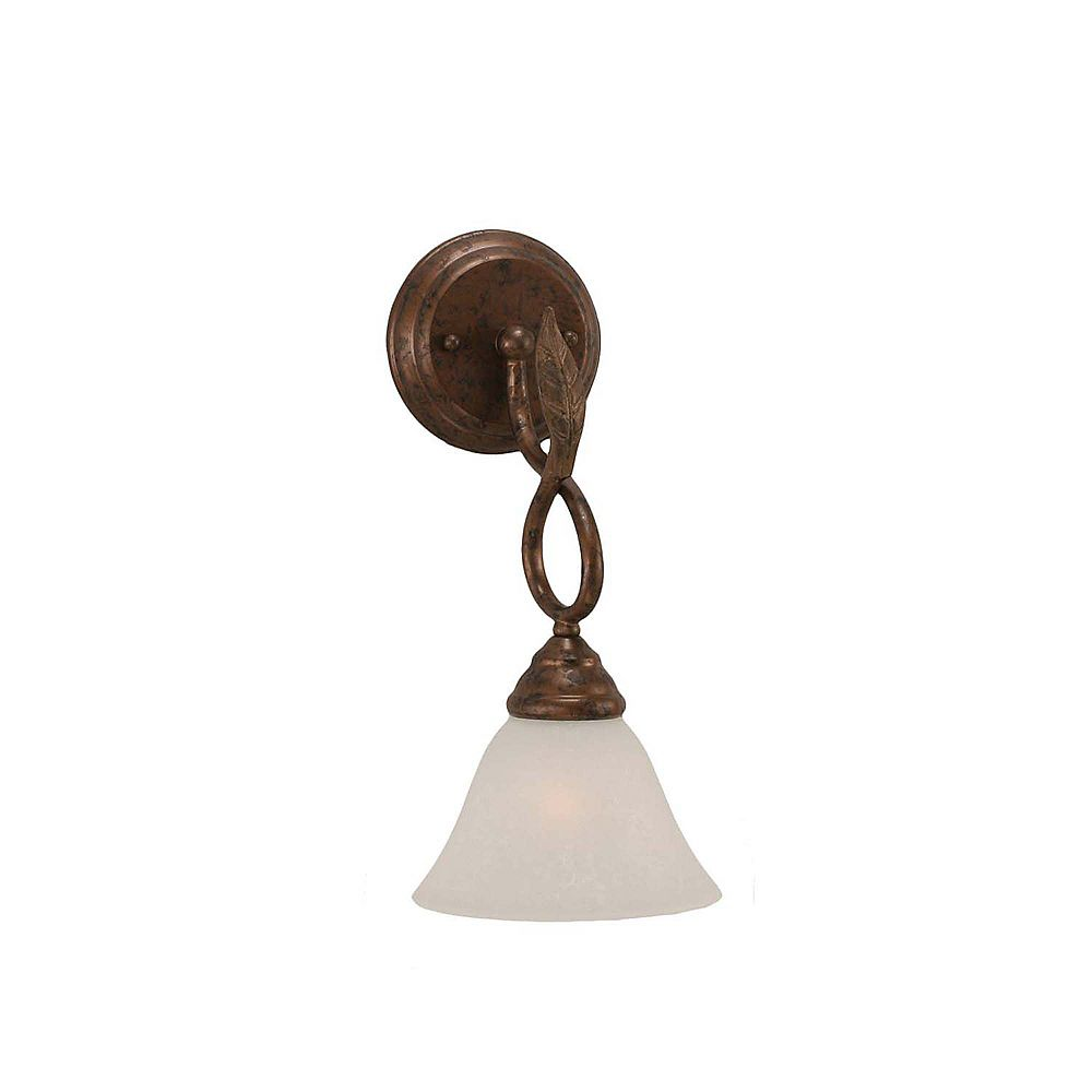 Filament Design Concord 1 Light Wall Bronze Incandescent Wall Sconce with a White Marble Glass