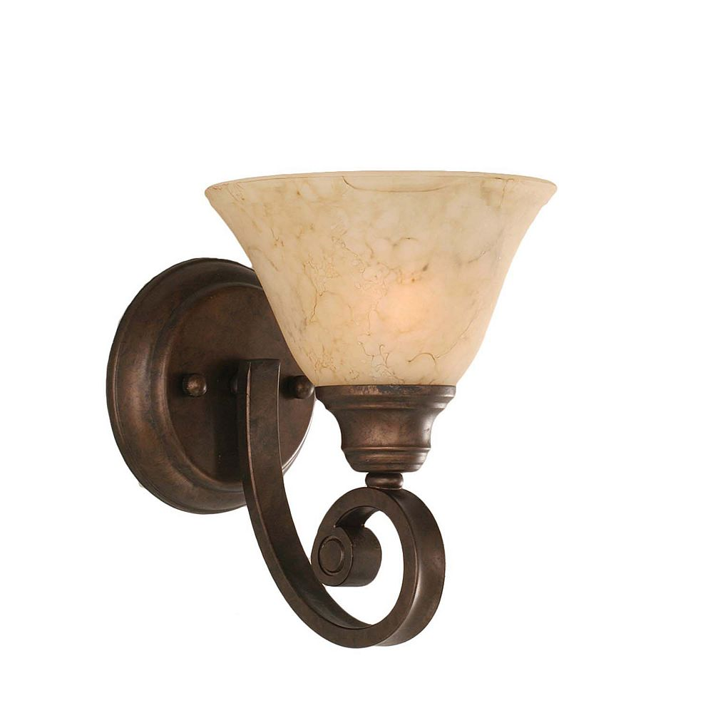 Filament Design Concord 1-Light Wall Bronze Wall Sconce with an Italian Marble Glass