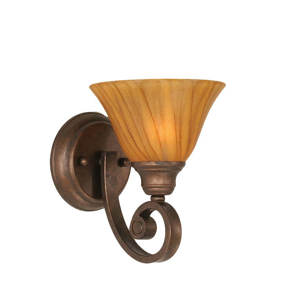 Filament Design Concord 1-Light Wall Bronze Wall Sconce with a Tiger Glass