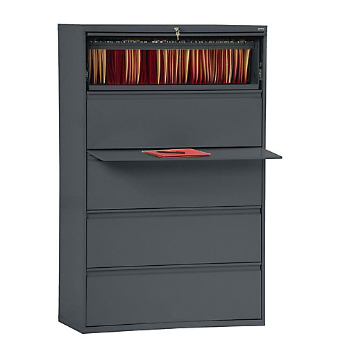 800 Series 42-inch x 66.38-inch x 19.25-inch 5-Drawer Metal Filing Cabinet in Grey