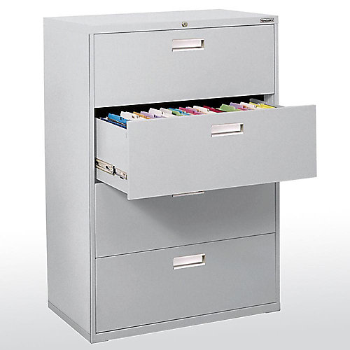 600 Series 36-inch x 53.25-inch x 19.25-inch 4-Drawer Metal Filing Cabinet in Grey