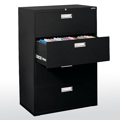 Sandusky 600 Series 36-inch x 53.25-inch x 19.25-inch 4-Drawer Metal Filing Cabinet in Black