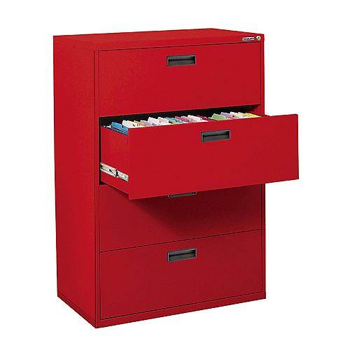 Sandusky 400 Series 30-inch x 50.25-inch x 18-inch 4-Drawer Metal Filing Cabinet in Red