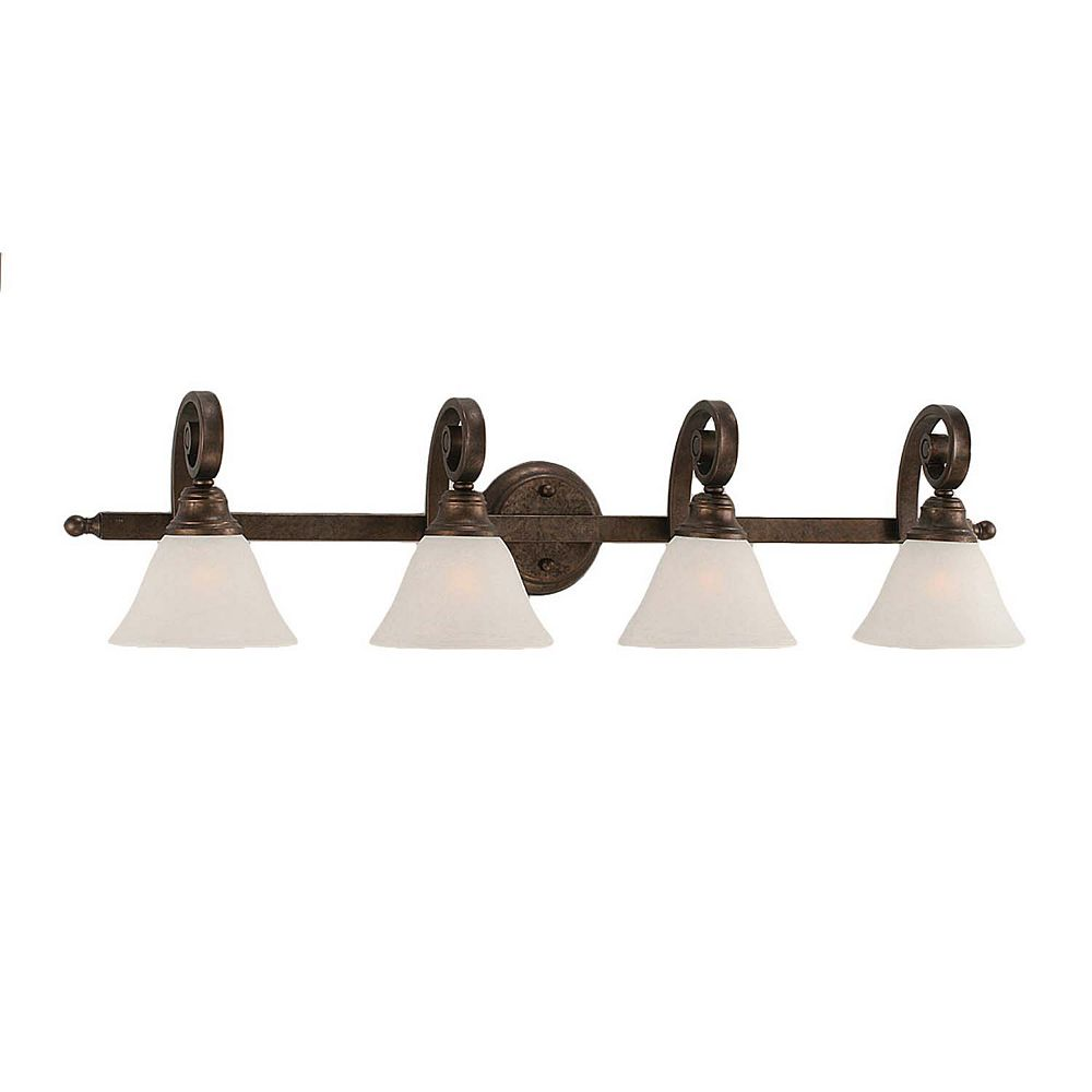 Filament Design Concord 4-Light Wall Bronze Bath Vanities with a White Marble Glass