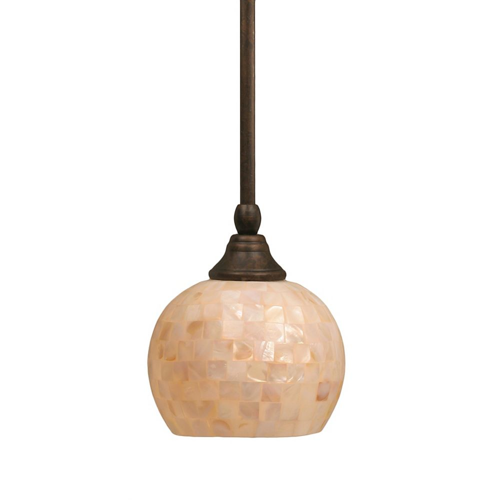 Filament Design Concord 1 Light Ceiling Bronze Compact Fluorescent Lighting Pendant with a Seashell Glass