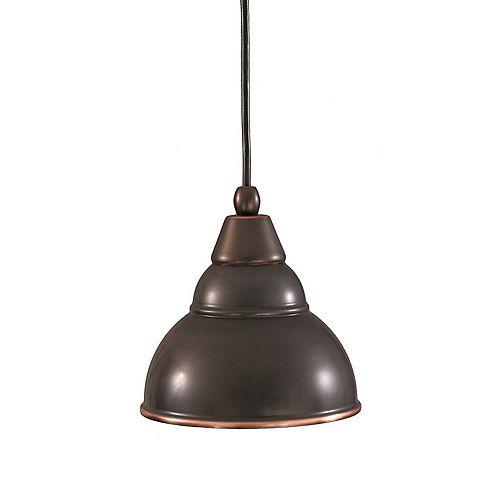 Concord 1 lumière au plafond Noir Copper Compact Fluorescent Pendeloque-éclairage avec un verre bronze