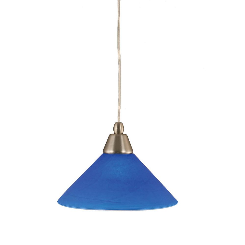 Filament Design Concord 1 Light Ceiling Brushed Nickel Incandescent Pendant with a Blue Italian Glass
