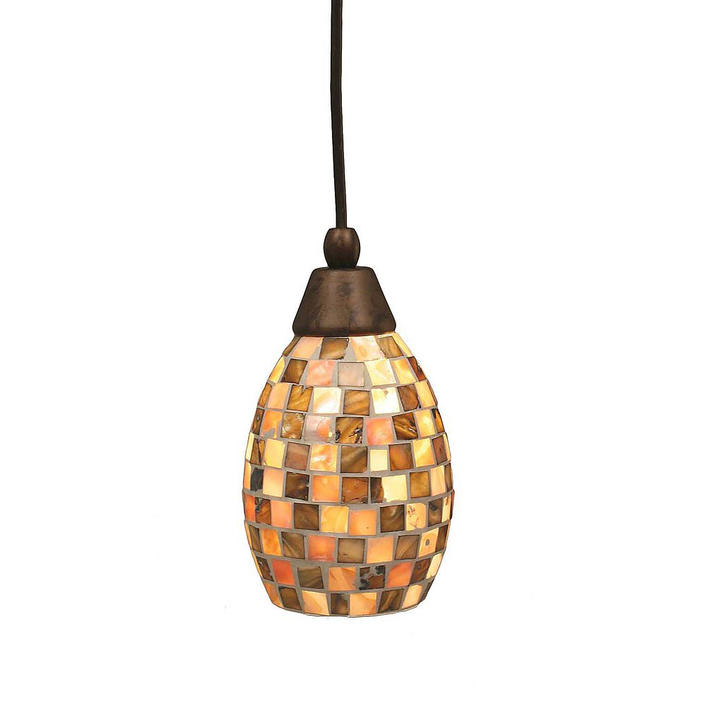 Filament Design Concord 1-Light Ceiling Bronze Pendant with a Seashell Glass