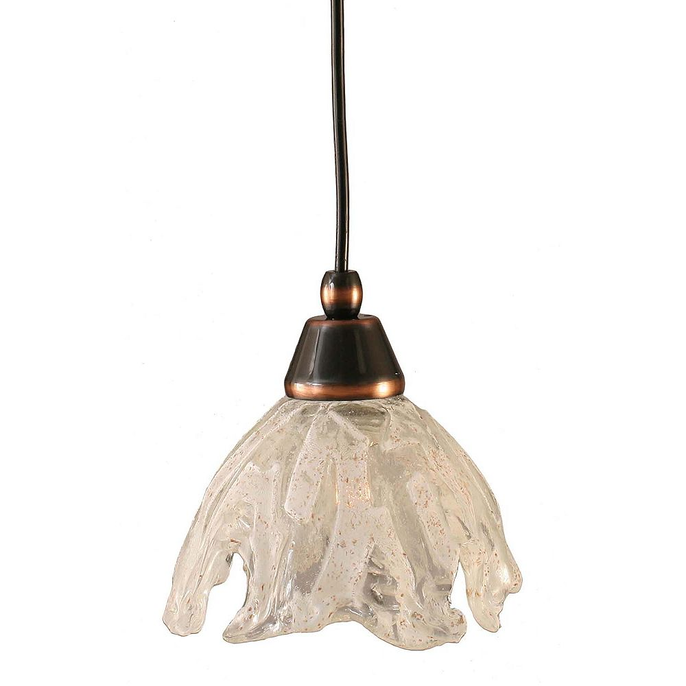 Filament Design Concord 1-Light Ceiling Black Copper Pendant with a Clear Crystal Glass