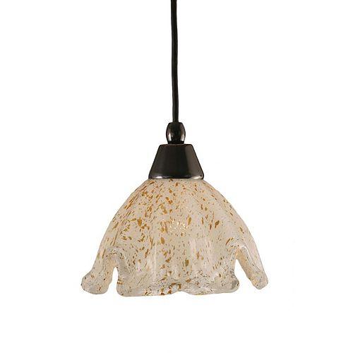 Concord 1 lumière au plafond Noir Copper Pendeloque à incandescence avec un cristal en verre d'or