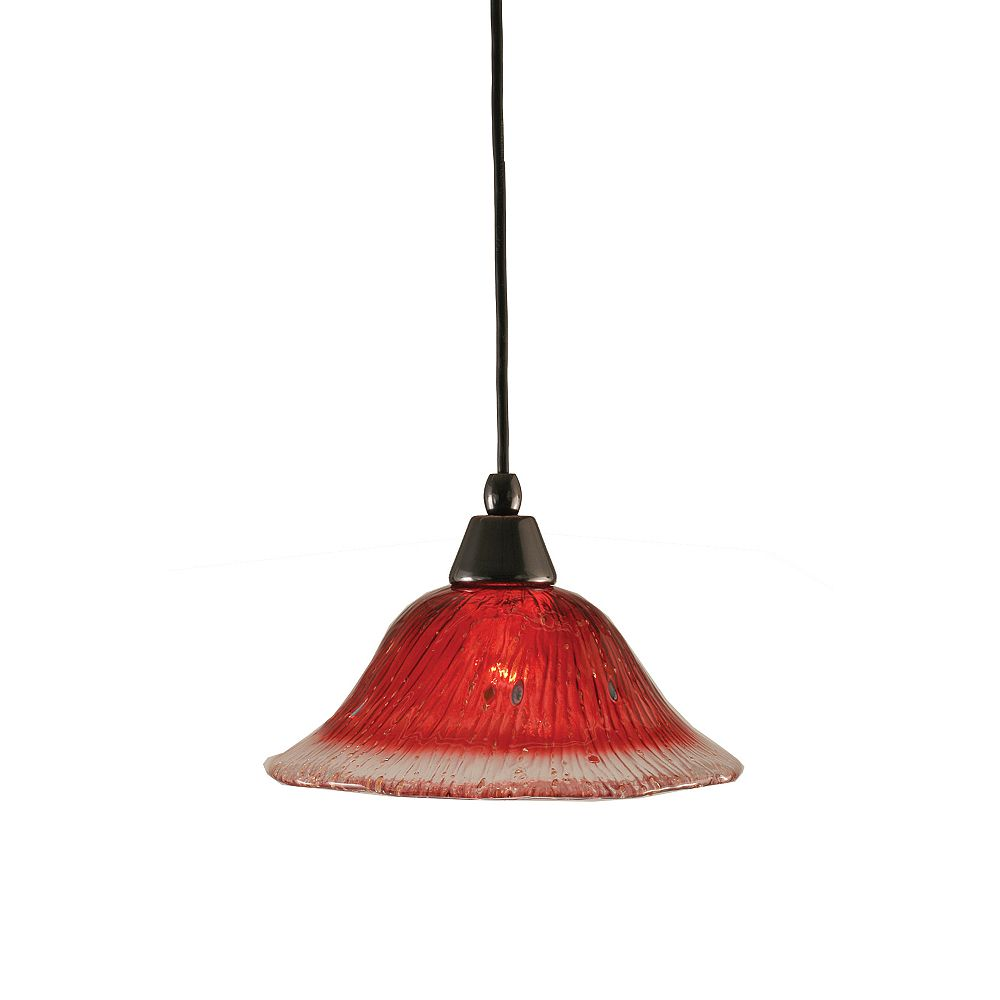 Filament Design Concord 1-Light Ceiling Black Copper Pendant with a Raspberry Crystal Glass