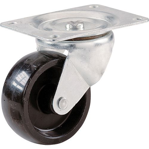2-inch Black Polypropylene Swivel Plate Caster with 125 lbs. Load Rating