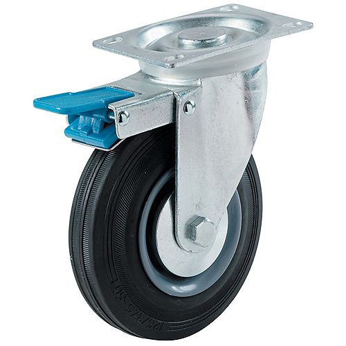 Everbilt 3 inch Semi-Elastic Rubber Swivel Plate Caster with 130 lb. Load Rating and Total-Lock Brake