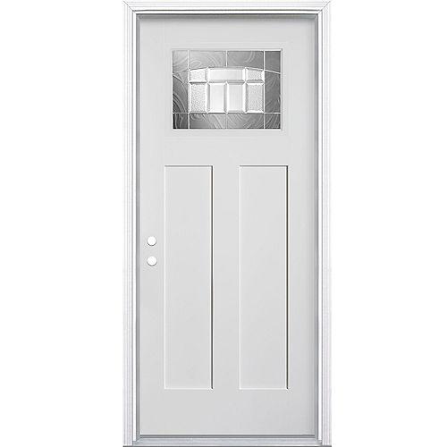 Masonite Porte d'entrée droite lisse en fibre de verre de 32 pouces x 80 pouces x 49/16 pouces de Croxley Craftsman