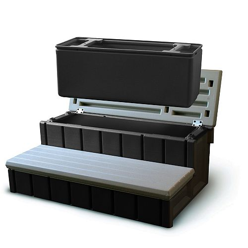 Escalier pour spa avec espace d'entreposage intégré - couleur gris