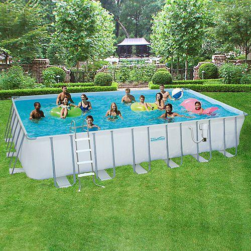 12 ft. x 24 ft. Rectangular 52-inch Deep Metal Frame Swimming Pool Package