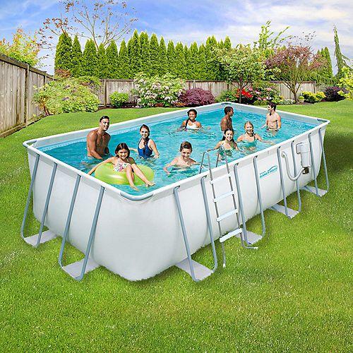 Ensemble de piscine à cadre métallique 2,74m (9 pi) x 5,49m (18 pi) rectangulaire x 1,32m (52 po) de profondeur