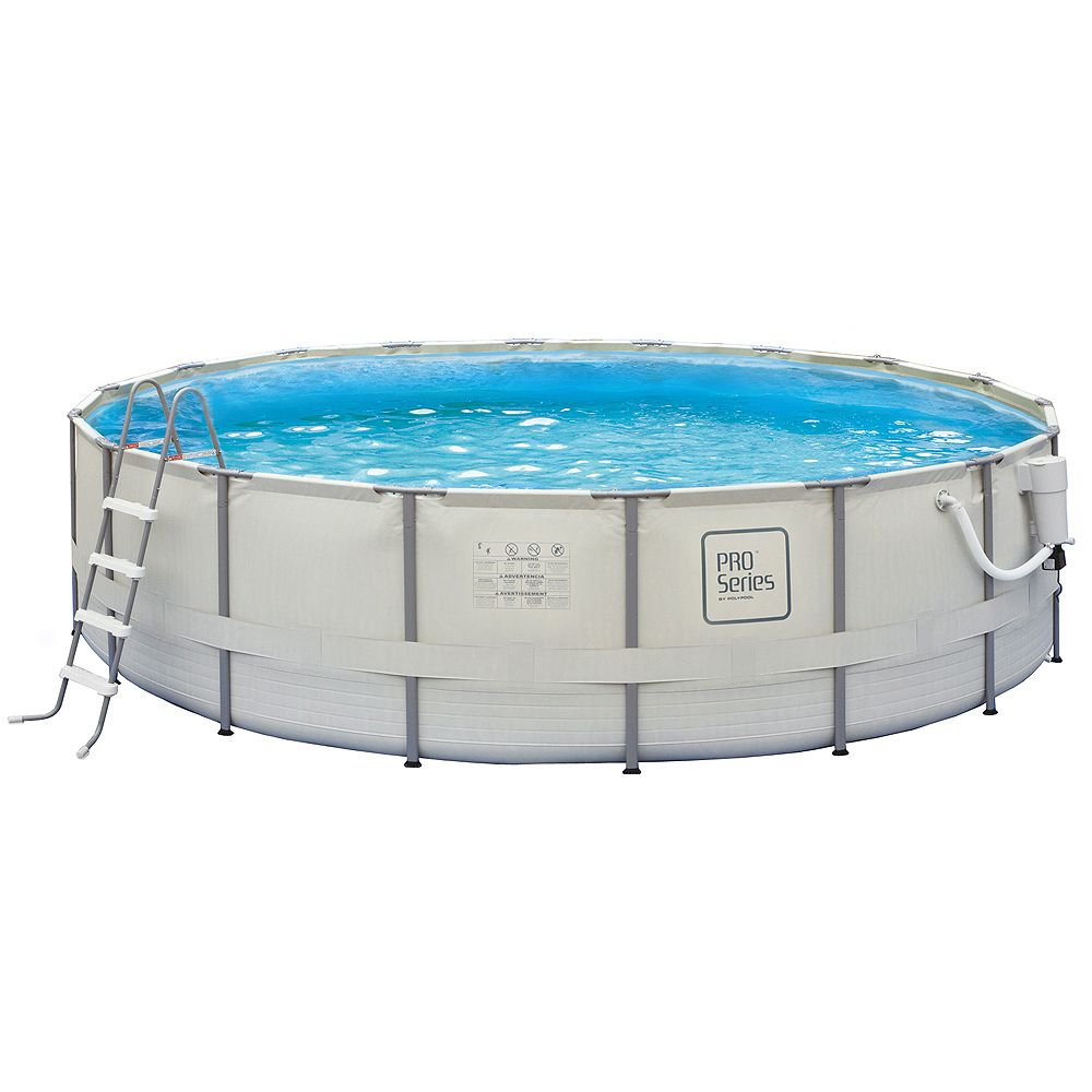 Polygroup Pro Series 24 Feet Round 52 Inches Deep Metal Frame Swimming Pool Package The Home Depot Canada