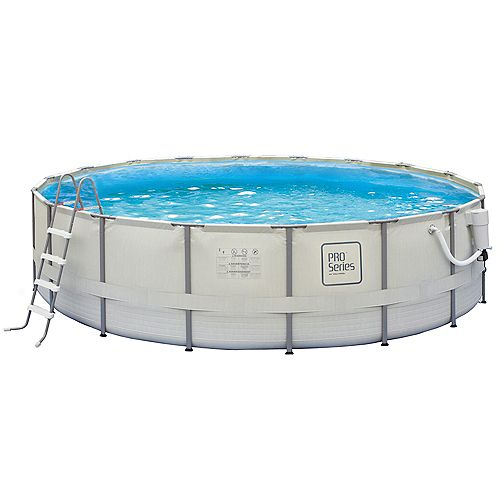Pro Series 24 Feet Round 52 Inches Deep Metal Frame Swimming Pool Package
