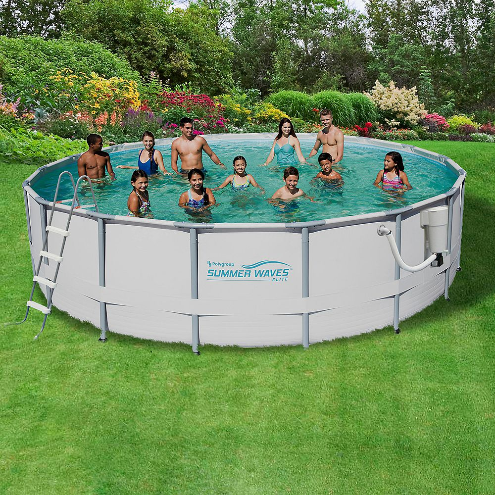 Summer Waves Elite 18 Ft Round 52 Inch Deep Metal Frame Swimming Pool Package The Home Depot Canada