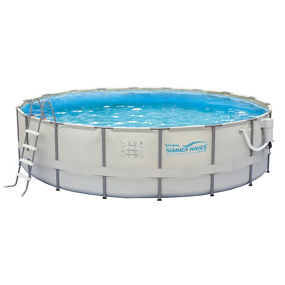 Summer Waves Elite 15 Ft Round 48 Inch Deep Metal Frame Swimming Pool Package The Home Depot Canada