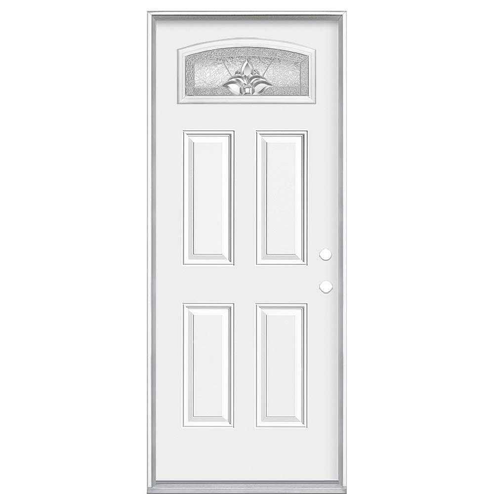 Masonite Porte d'entrée de 36 pouces x 6 9/16 pouces du ventilateur de carrosserie Providence à gauche - ENERGY STARÂ