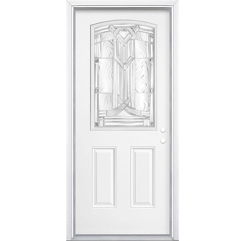 Masonite Porte d'entrée gauche Chatham Camber 1/2-Lite de 34 pouces x 80 pouces x 49/16 pouces