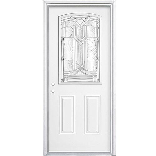 Masonite Porte d'entrée droite Chatham Camber 1/2-Lite de 34 pouces x 80 pouces x 49/16 pouces