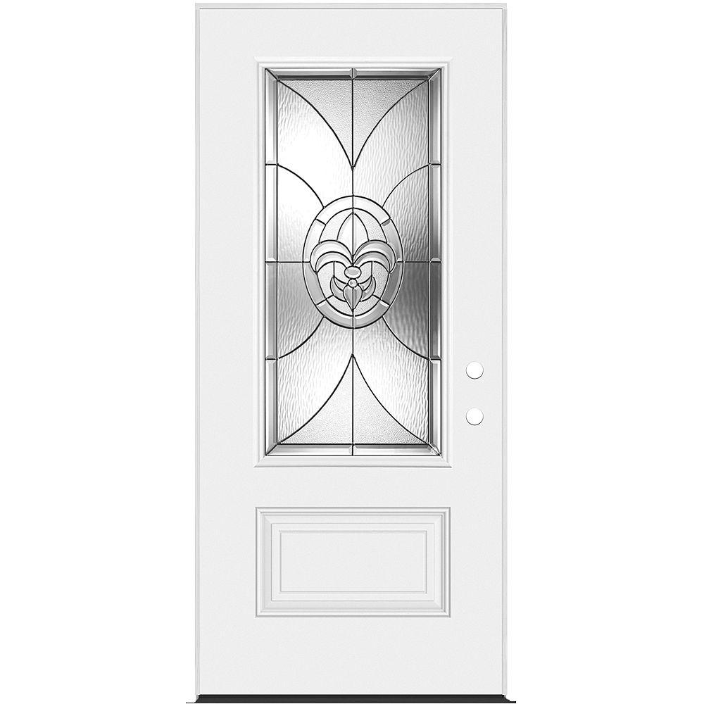 Masonite 34-inch x 7 1/4-inch Fleur De Lis 3/4-Lite Left Hand Entry Door