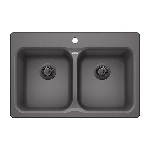 VISION 210, Equal Double Bowl Drop-in Kitchen Sink, SILGRANIT Cinder