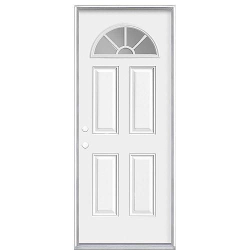 Masonite Grille intérieure de 36 pouces x 80 pouces x 49/16 pouces Fan Lite Porte d'entrée à droite