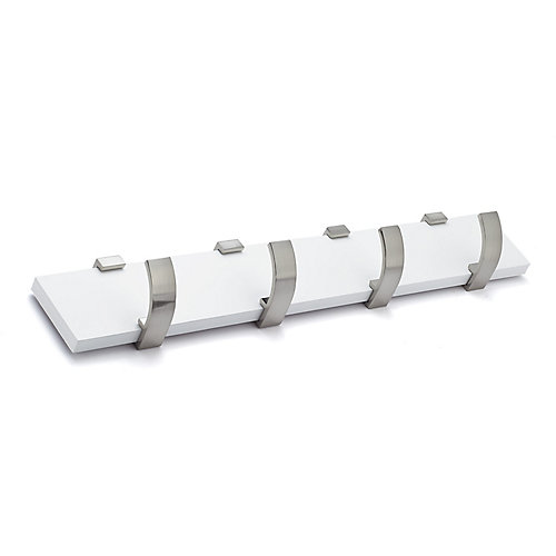 Contemporary Hook Rack. White and Brushed Nickel