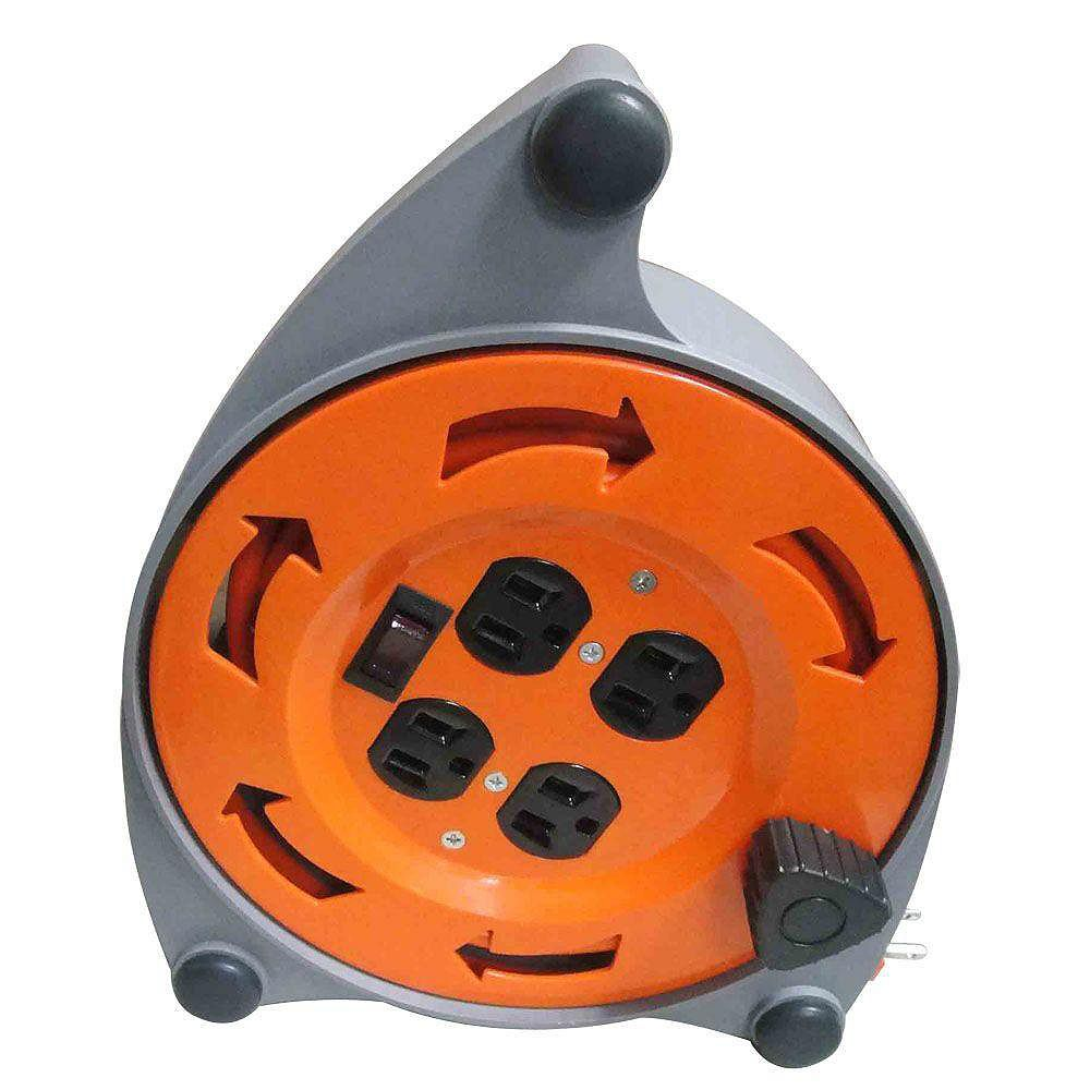 HDX 20 ft. 16/3 Retractable Extension Cord Reel with 4-Outlets
