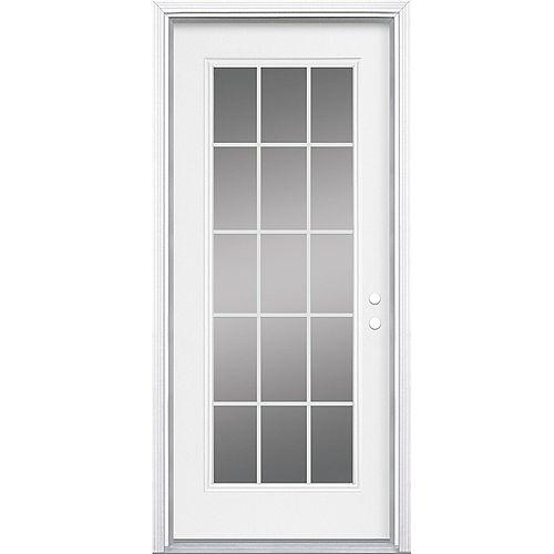 Masonite 32-inch x 80-inch x 4 9/16-inch 15-Lite Internal Grille Low-E Left Hand Entry Door