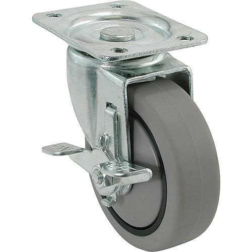 4 inch TPR Swivel Caster with 250 lb. Load Rating and Brake