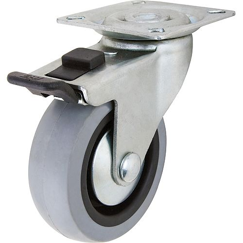 3 inch TPR Swivel Caster with 121 lb. Load Rating and Brake