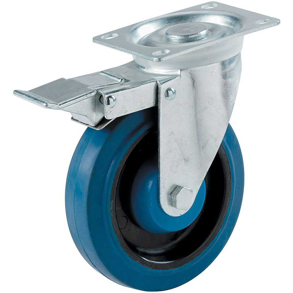 Everbilt 4 inch Blue Elastic Rubber Swivel Plate Caster with 265 lb. Load Rating and Total Lock Brake