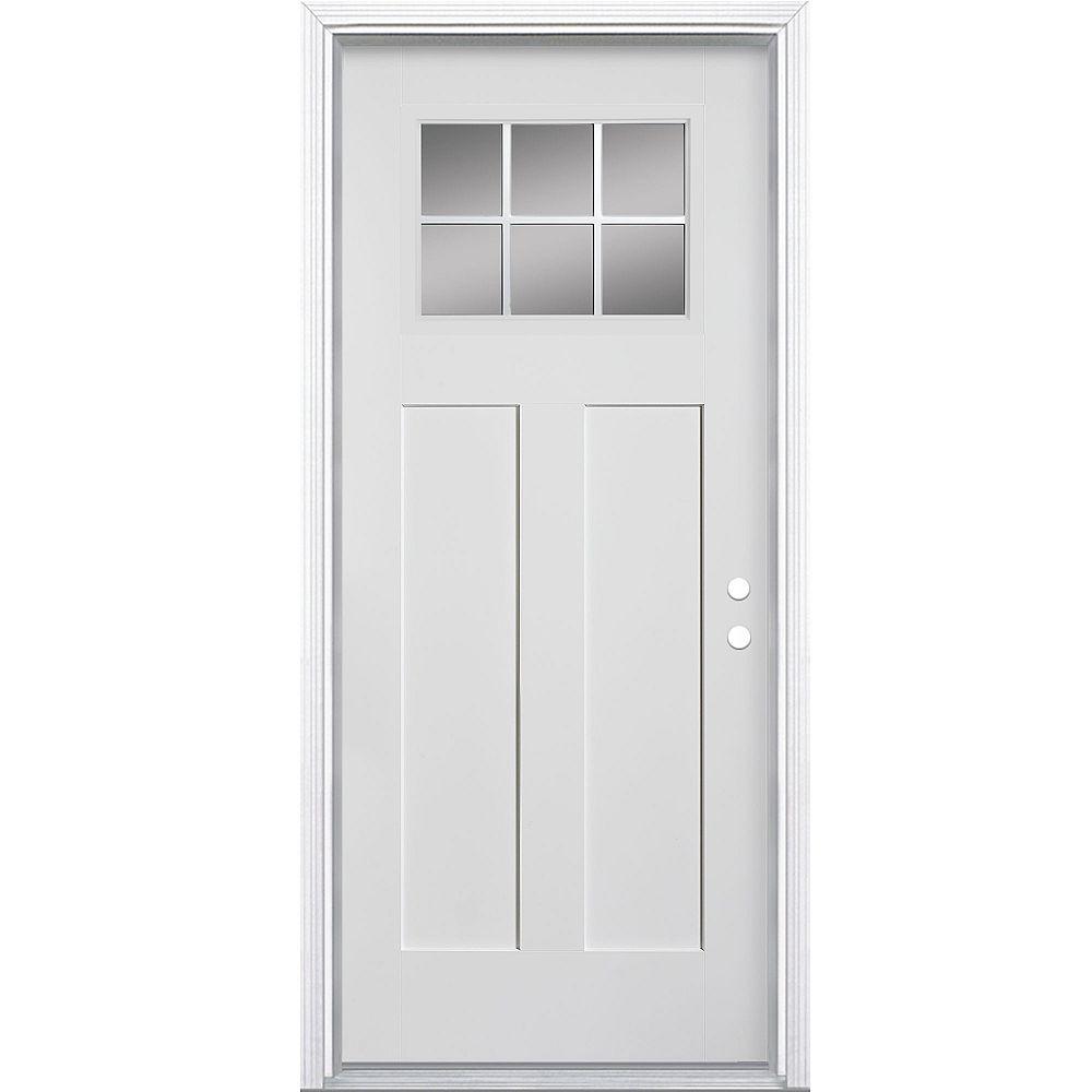 Masonite 32-inch x 4 9/16-inch Craftsman 6-Lite Fibreglass Smooth Left Hand Door