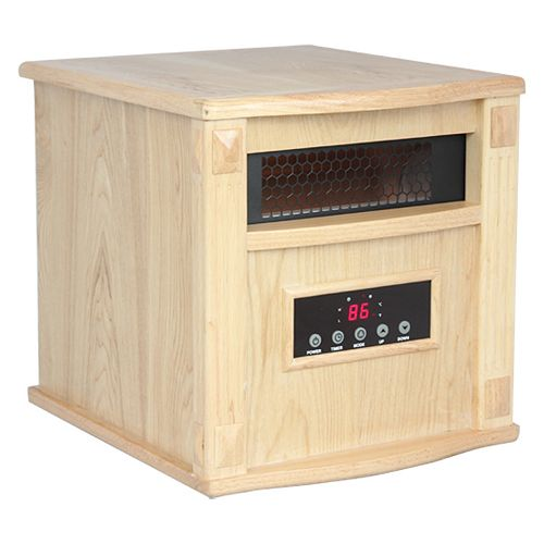 Titanium Portable Infrared Heater  - Built-In Air Purifier W/UV-C & TIO2 - Oak