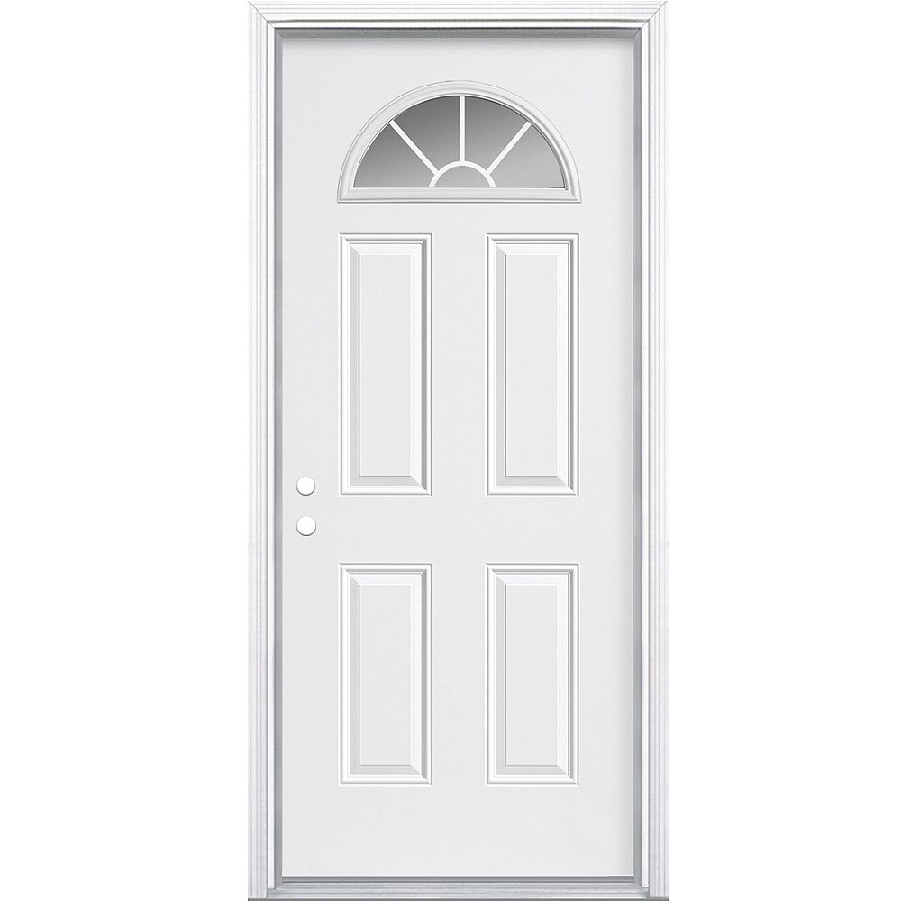 Masonite 34-inch x 80-inch x 7-1/4-inch Fan Lite Internal Grille Right Hand Door