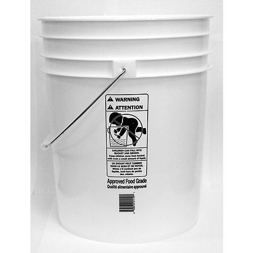 Seau alimentaire Blanc Approuvé - 19L / 5 Gallon