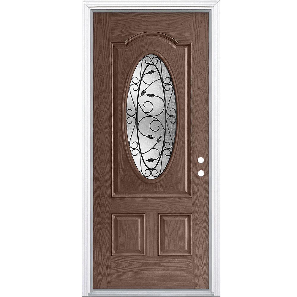 Masonite 34-inch x 80-inch x 4-9/16-inch 3/4-Oval Pergola Fiberglass Caramel Left Hand Door