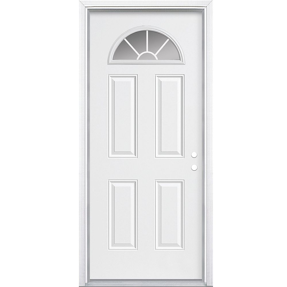 Masonite 34-inch x 80-inch x 7-1/4-inch Fan Lite Internal Grille Left Hand Door