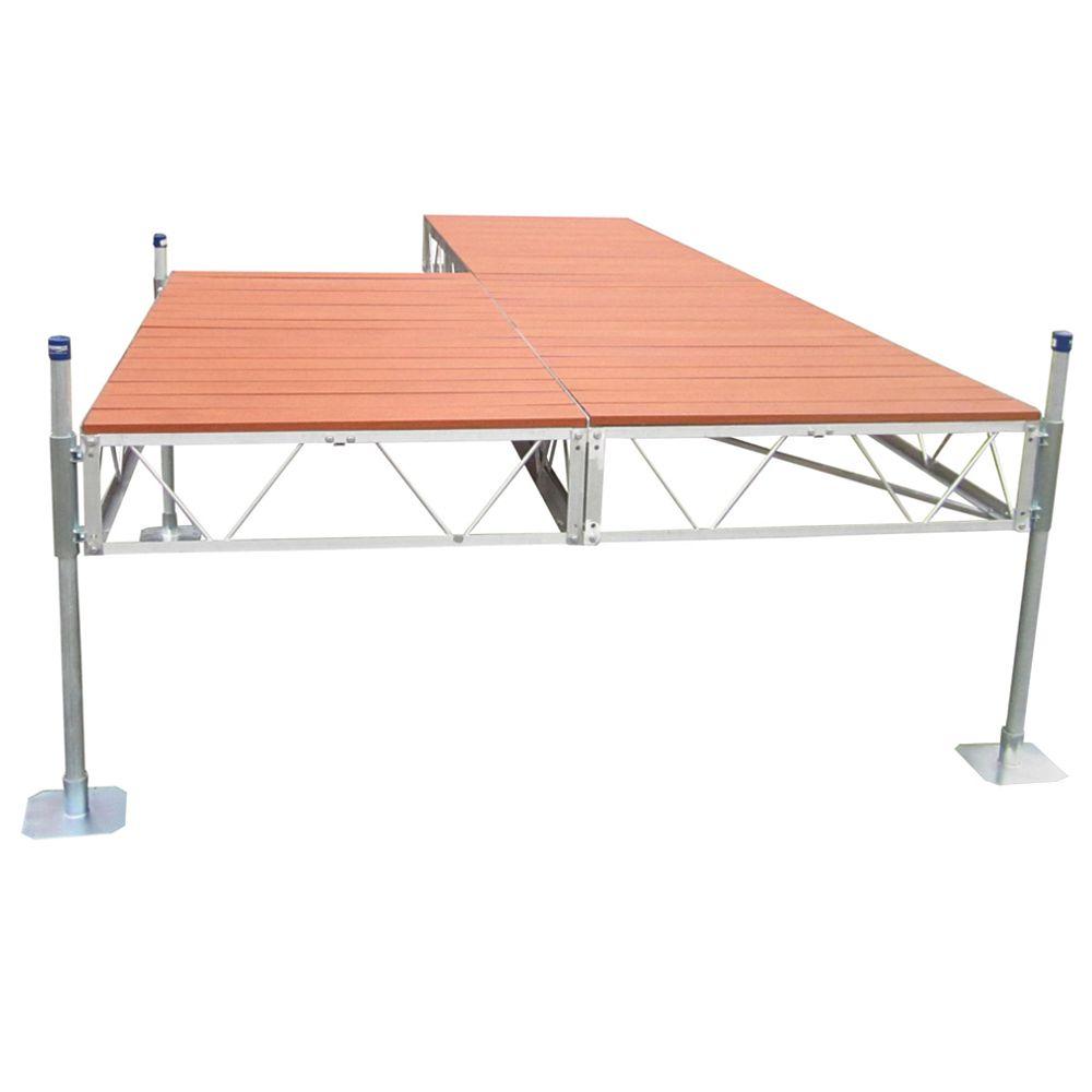 Patriot Docks 24 ft. Patio Dock with Aluminum Wood Grain Decking