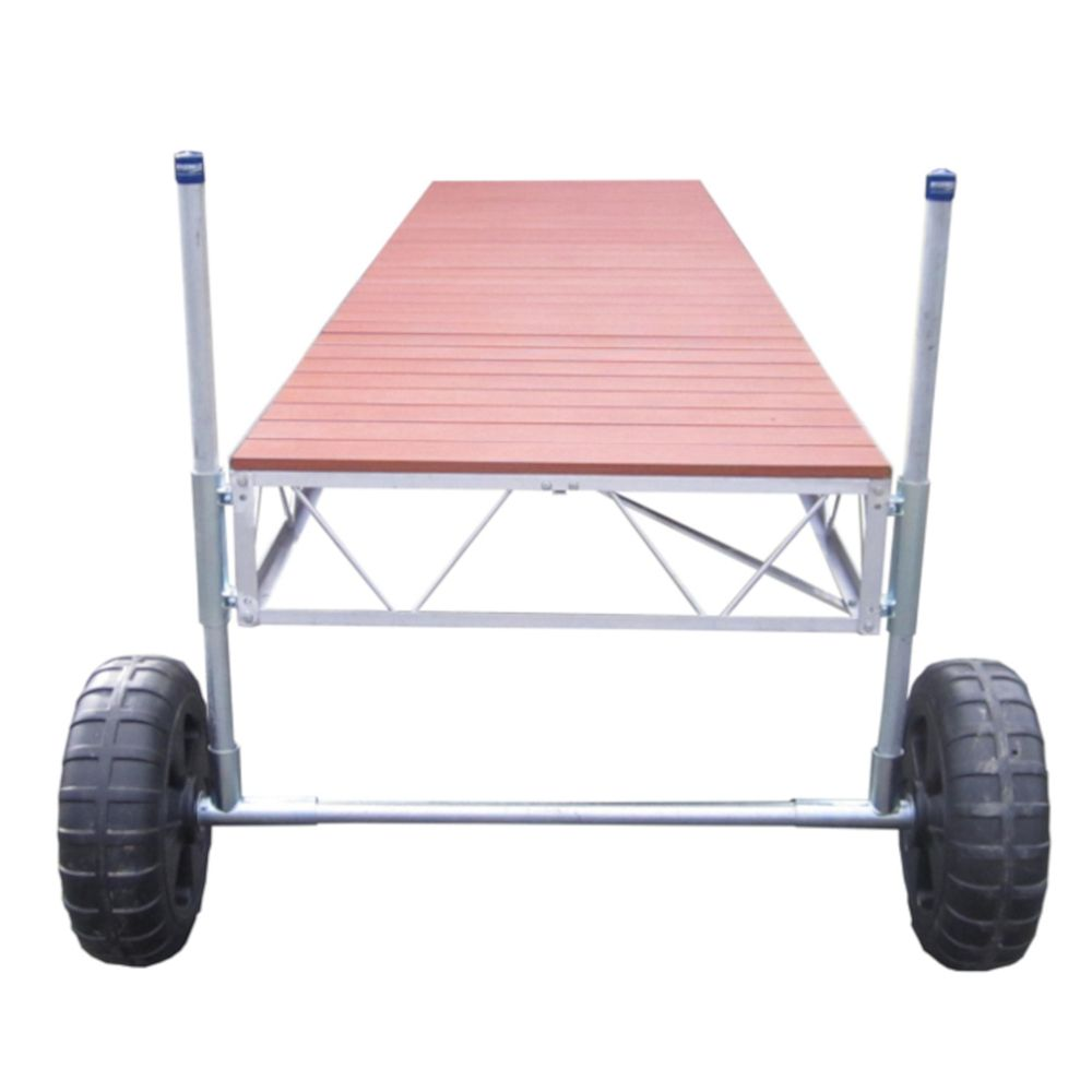 Patriot Docks 24 ft. Straight Roll-in Dock with Aluminum Wood Grain Decking