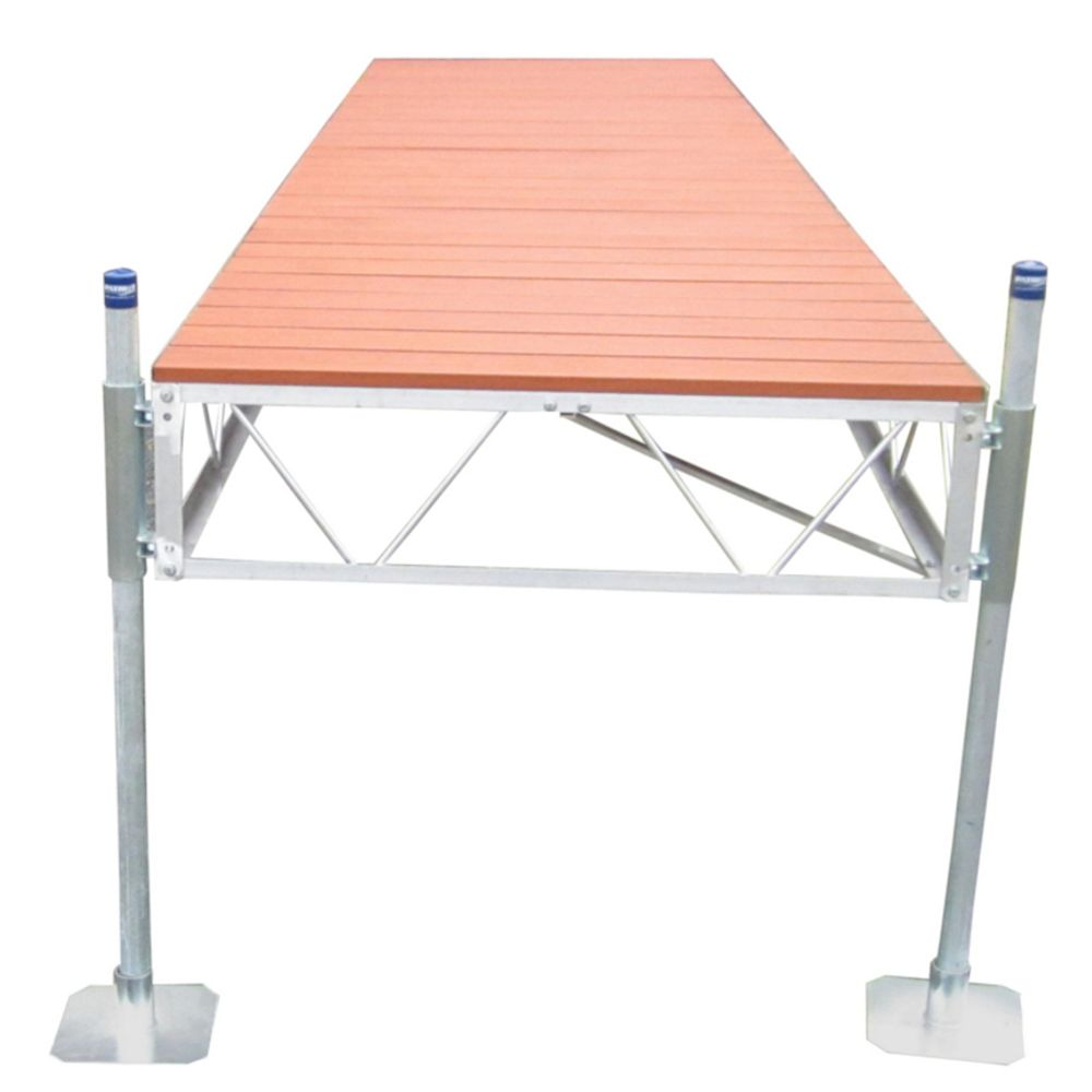 Patriot Docks 40 ft. Straight Dock with Aluminum Wood Grain Decking