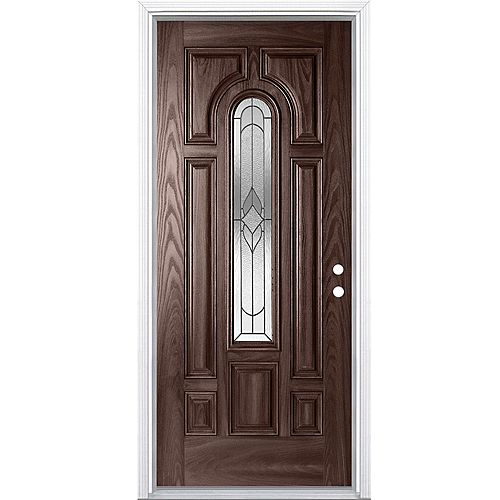 Masonite 34-inch x 80-inch x 7-1/4-inch Center Arch Oxney Fiberglass Merlot Left Hand Door