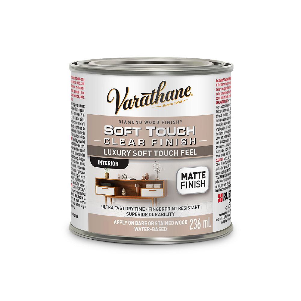 Varathane Premium Diamond Wood Finish For Interior, Water-Based In Matte Clear, 236 mL