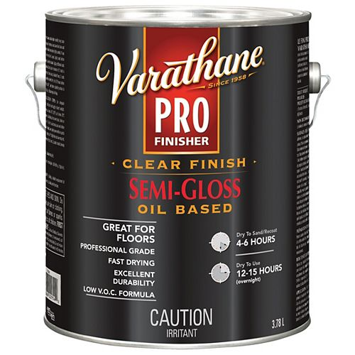 Varathane Pro Finisher Oil-Based Clear Finish In Semi-Gloss Clear, 3.78 L